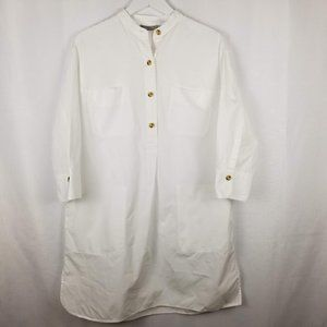 Vince White Cotton Band Collar Tunic - S